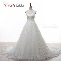 Vivian S Bridal Beading White Wedding Dress Long V Neck A Line Crystal Tulle Wedding Gowns