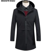 2018 New Autumn Winter Mens Trench Coats Black Long Hooded O