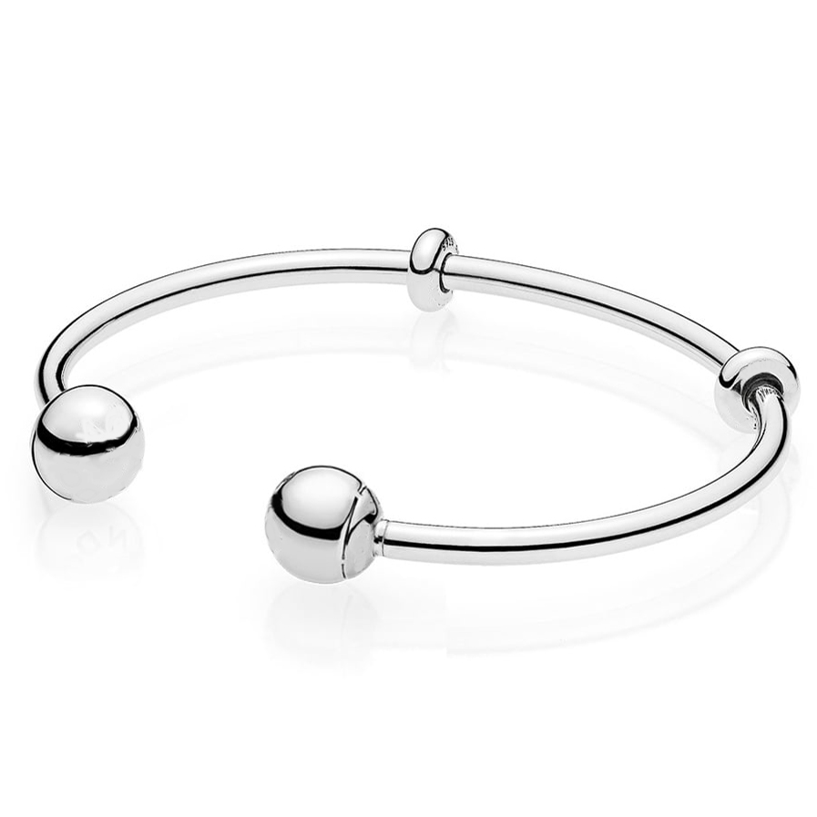 Top Quality MOMENTS Silver Open Bangle with Signature Caps Bangle Bracelet Fit Bead Charm 925 Sterling Silver Pandora Jewelry 925 sterling silver bracelet logo signature padlock moments smooth snake bracelet bangle fit bead charm diy pandora jewelry