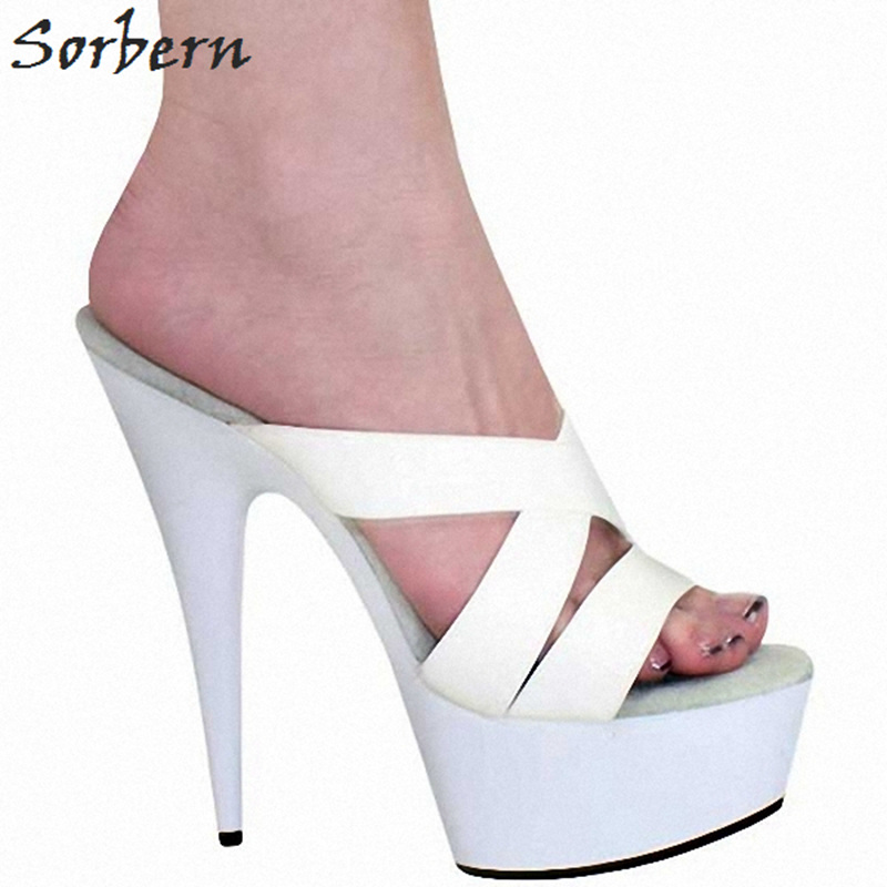 Sorbern White Women Slippers Summer Shoes 15Cm High Heels Cross Straps Platform Sandal Platform Shoes Slides Women 2018 New цена