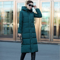 Winter Keep Warm Thickening Women Cotton Slim Long Coat Hooded Parka Jackets Coats White Overcoat Plus