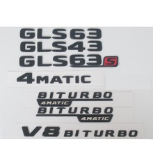Newest Matte Black ABS Rear Trunk Letters Badge Badges Emblem Emblems Decal Sticker for Mercedes Benz GLS Class GLS63 AMG 2017
