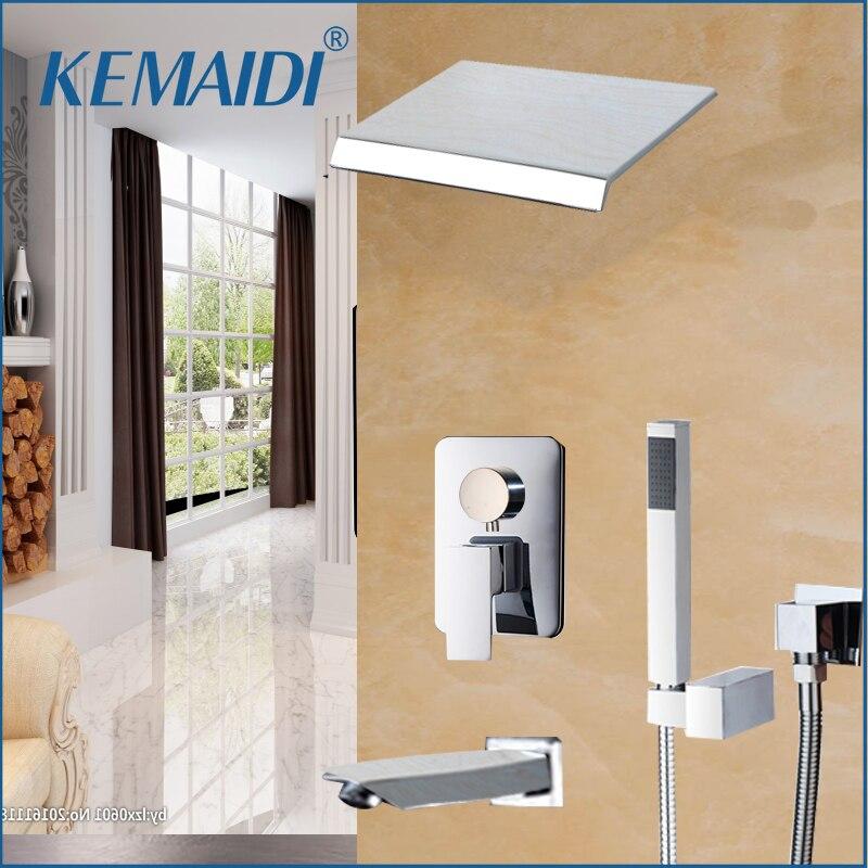 KEMAIDI Bathtub Waterfall Shower Head Wall Mouned Shower Panel Mixer Chrome Finished Shower Set With Hand