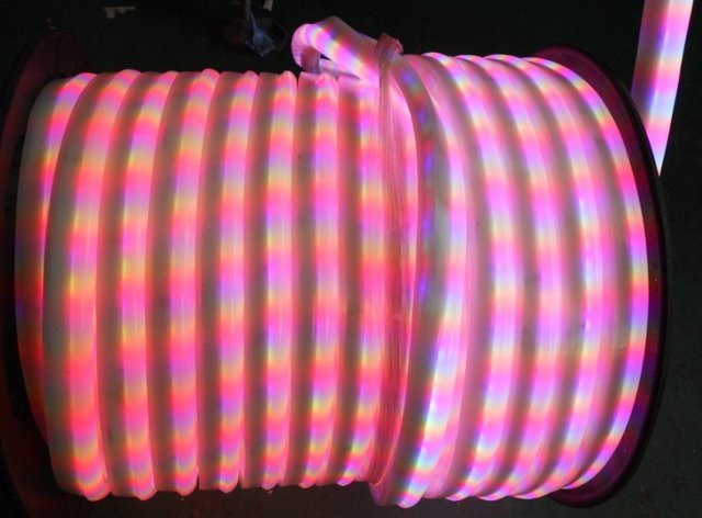 4wire-RGB Color LED Neon Flex;DC24V input,100leds/m,can be controlled by dmx512 controller;can be cut every 20cm long