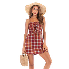 Womens Plaid Print Summer Dresses Backless Beach Style A Line Female Clothing Mini