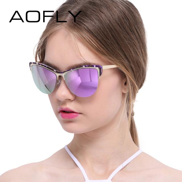 Aofly semi-sin montura gafas de sol cat de ojos gafas mujeres diseñador de la marca de moda retro mujer gafas de sol de espejo del estilo del verano uv400