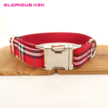 Designer Brand Dog Collar Adjustable Fashion Plaid Dog Collar and Leash Set Anti-Bite Nylon Pet Collars for Small Dogs Chihuahua