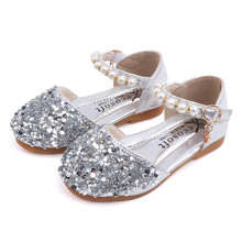 Cute Baby Girls Glitter Shoes PU Leather Little Pink Toddler Dance Kid Black Flats Children casual