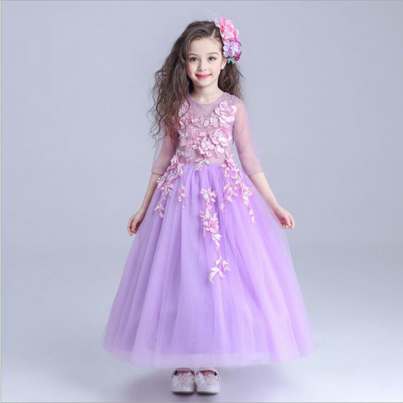 luxury purple tut princess dress floor-length ball gown flower girl dresses hollow-out girls pageant dress for wedding costume цены онлайн