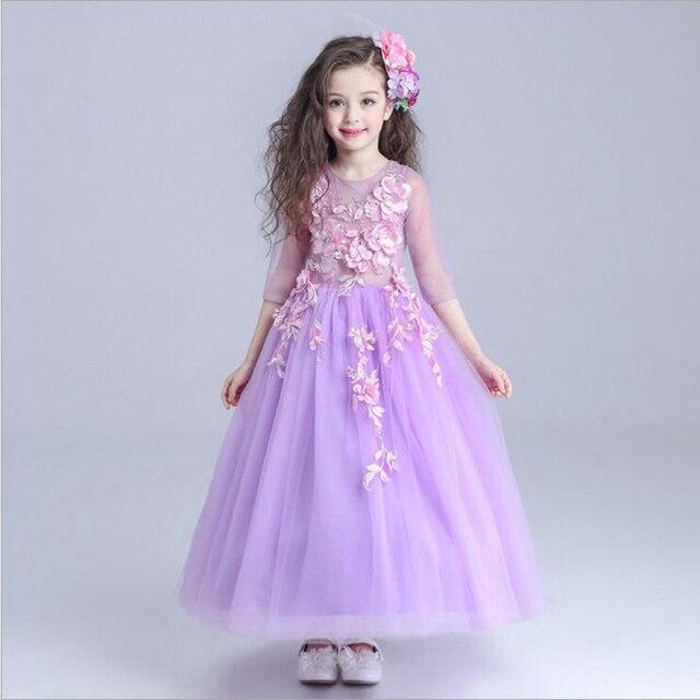 luxury purple tut princess dress floor length ball gown flower girl ...