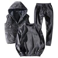 7XL 8XL теплый спортивный костюм для мужчин 3 шт./компл. комплект с худи зимний утолщенный спортивный свитер 2019 Новый Плюс Размер Свободный терм