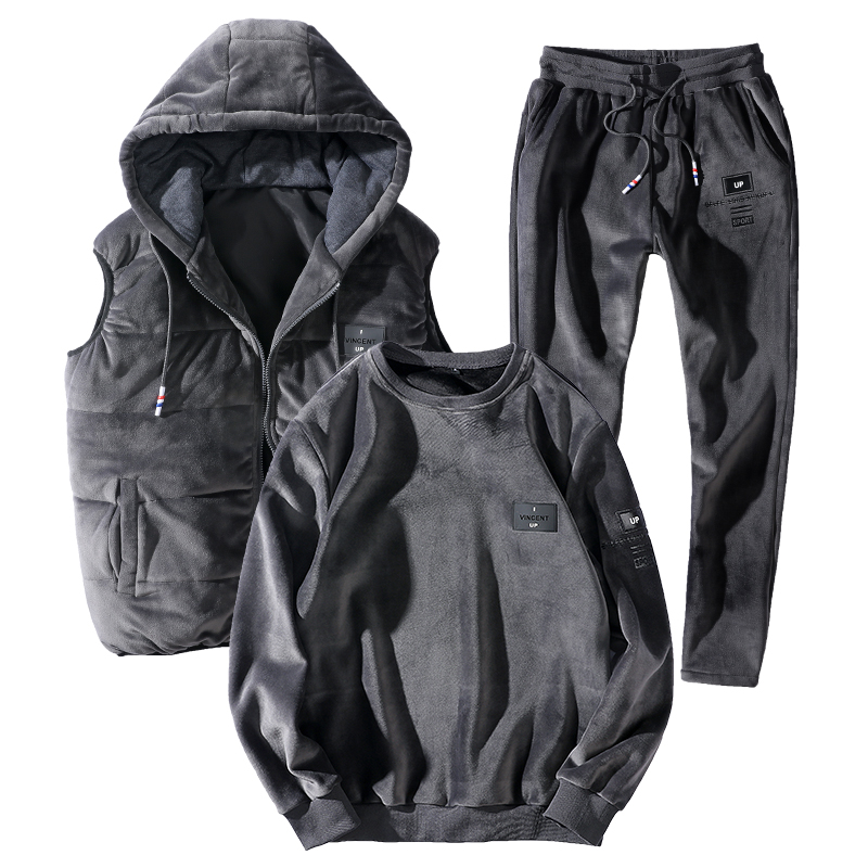 7XL 8XL Warm Sport Suit Men 3 PieceSet Hoodie Sets Winter Thicken Sportswear 2019 New Plus Size Loose Thermal Run Gym Sportsuit