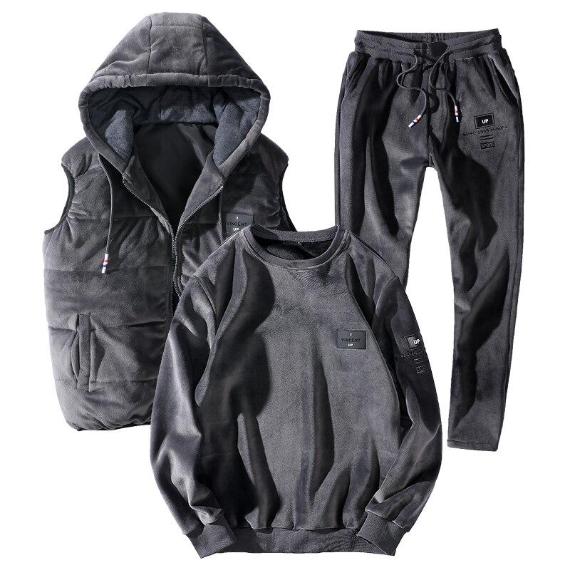 7XL 8XL chaud Sport costume hommes 3 pièce/ensemble à capuche ensembles hiver épaissir Sportswear 2019 nouvelle grande taille lâche thermique course Gym Sportsuit