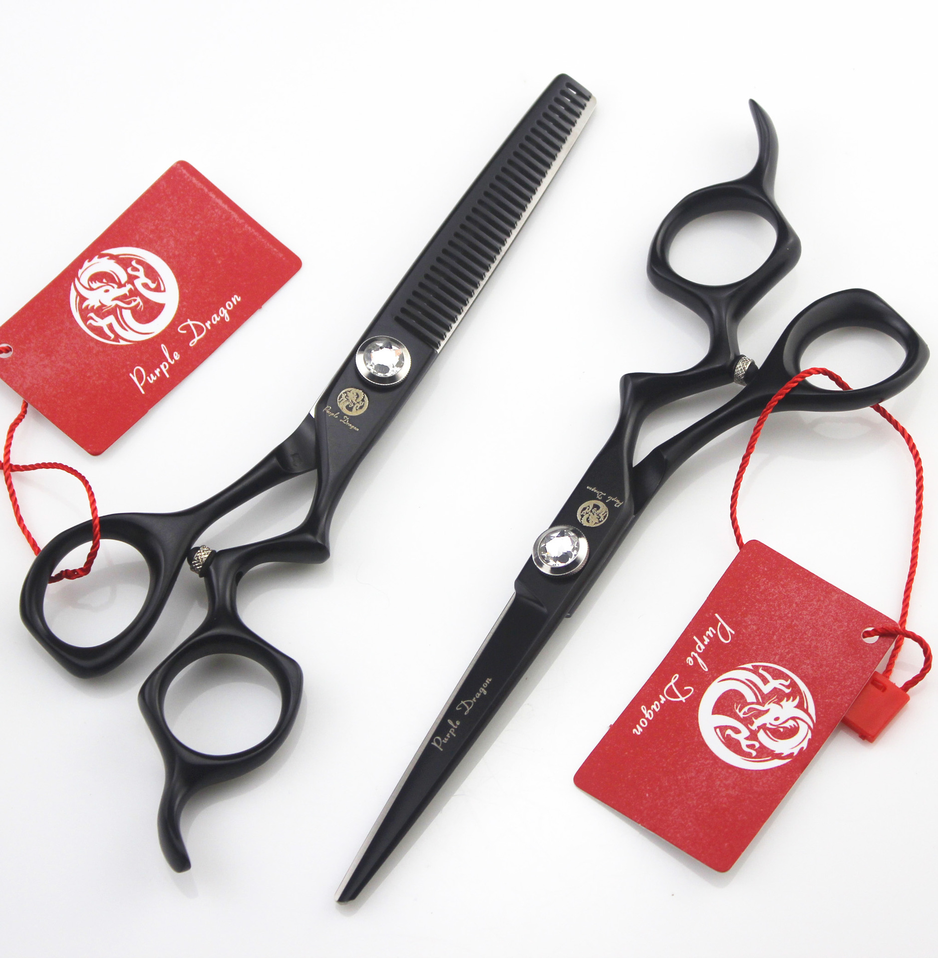6 inch black paint Professional Hair Scissors Salon Haircuts Hairdressing Cutting Barber Tools