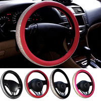 Hot Sale Crystal Rhinestone Car Leather Steering Wheel Covers Cap Steering Wheel Cover Auto Car For Women Girls