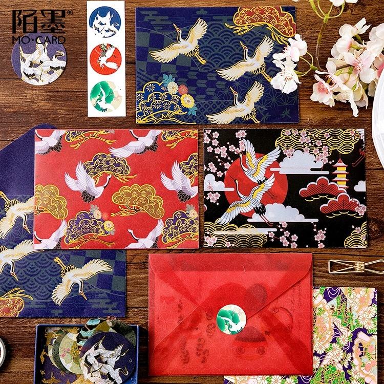 3pcs/pack Retro Divine Gold Pattern Crane Gilding Translucent Envelope Message Card Letter Stationary Storage Paper Gift 15*11cm
