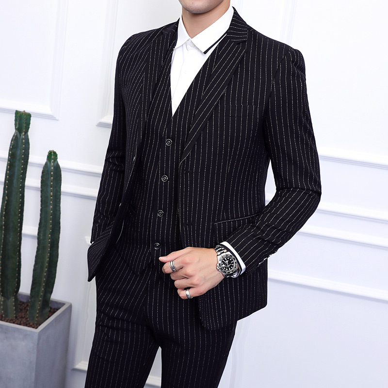 Men's Striped Suit Three-piece Large Size 6XL British Style Gentleman Business Banquet Wedding Host Fashion Quality Formal Suit