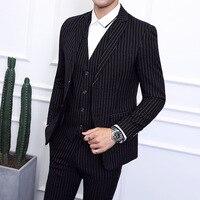 Men's Striped Suit Three piece Large Size 6XL British Style Gentleman Business Banquet Wedding Host Fashion Quality Formal Suit