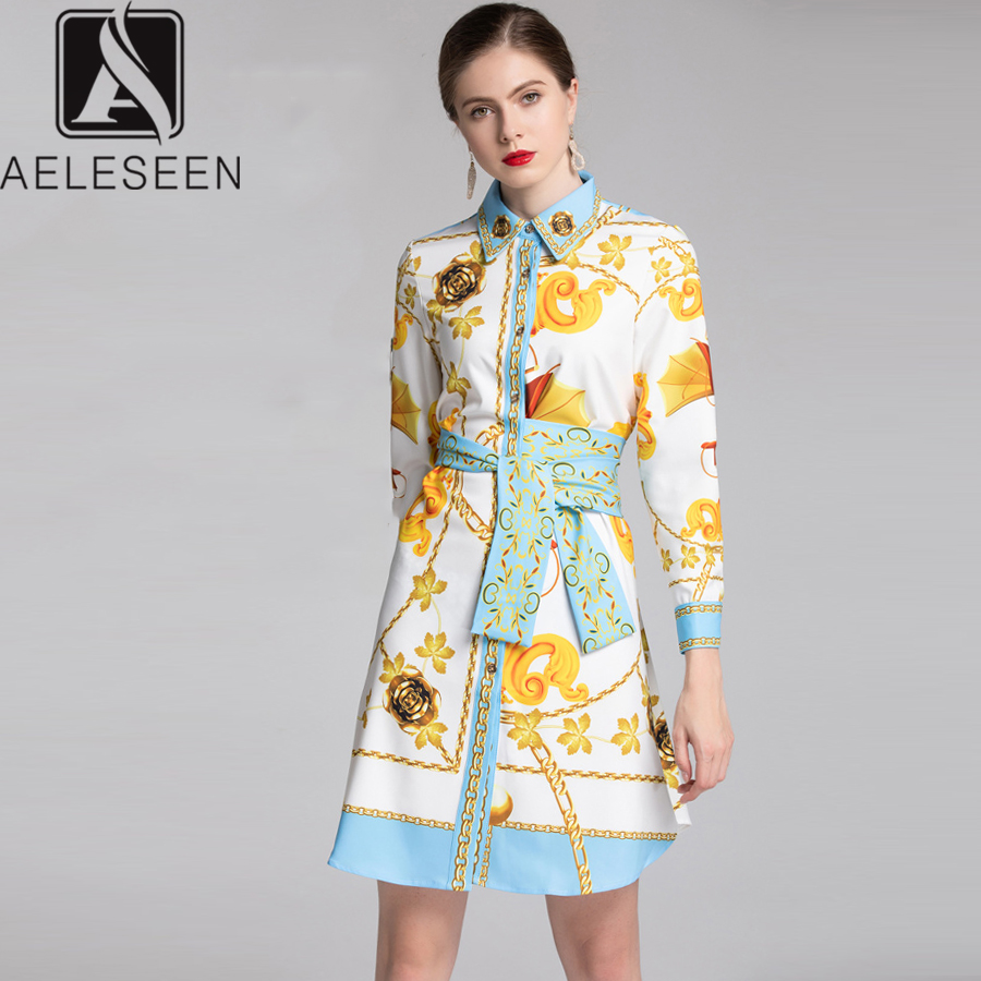 AELESEEN High Quality Luxury Fashion Dress 2019 Spring Summer Long Sleeve Gold Print Vintage Bow Shirt Dress Party Vestidos-in Dresses from Women's Clothing    1