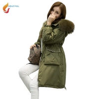 JQNZHNL Women Big Fur Hooded Down Cotton Coats Parkas 2017 New Winter Coats Medium Long Thicken