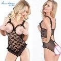 Mujer sexy lingerie hot erotic lingerie underwear sujetador abierto crotchless encaje body ropa de dormir de verano más tamaño sy013