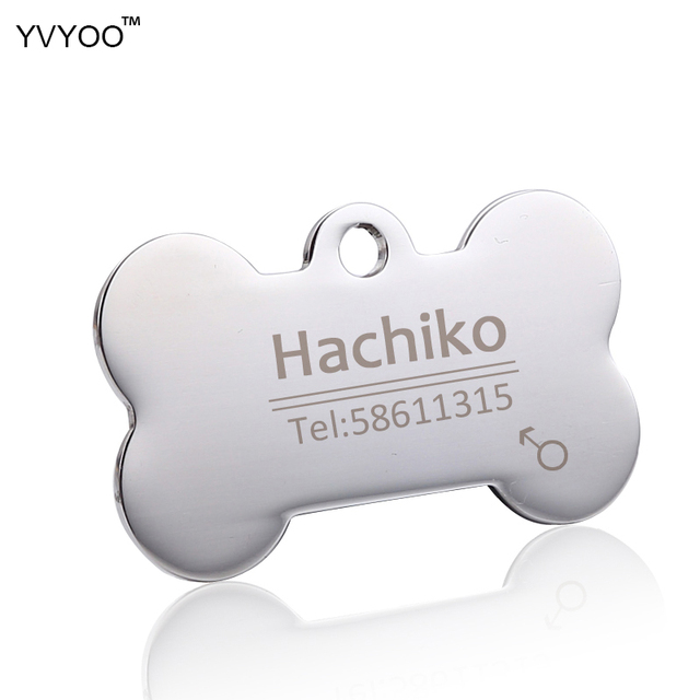 YVYOO Dog collar Stainless steel dog cat tag Free engraving Pet collar accessories ID tag name telephone Pet Supplies AA 2