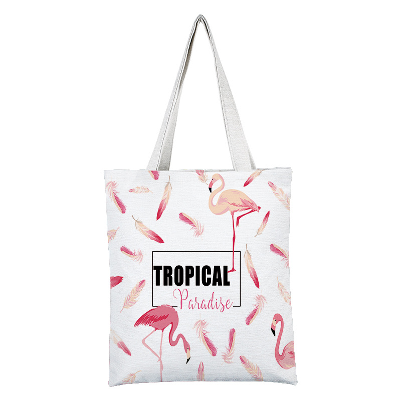 2019 Flamingos Print Women Tote Bags Canvas Shopping Bag Shoulder Bags for Women Students Ladies Handbags in Top Handle Bags from Luggage Bags