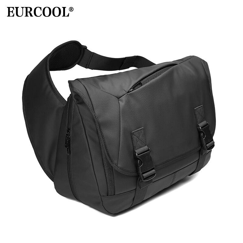 EURCOOL Expansão Grande Capacidade Messenger Bags For Men 14.6 polegada Laptop Ombro Saco Preto Sacos de Viagem Ocasional Peito Masculino n1805