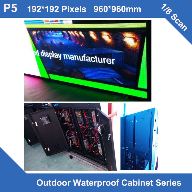 TEEHO video LED 6pcs/lot P5 Outdoor waterproof LED cabinet fixed installation 1/8 scan RGB full color advertising led display