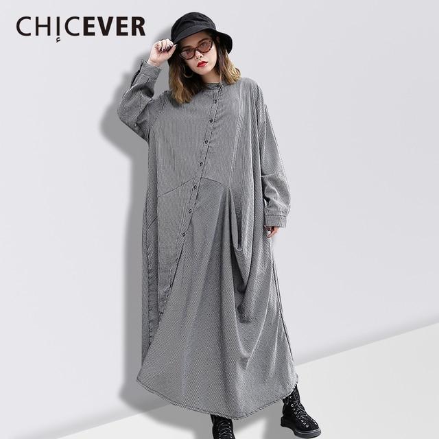 Chicever Весна Асимметричный женское платье рубашка с длинным рукавом Свободные Повседневное черный Для женщин Платья для женщин большой Размеры модная одежда