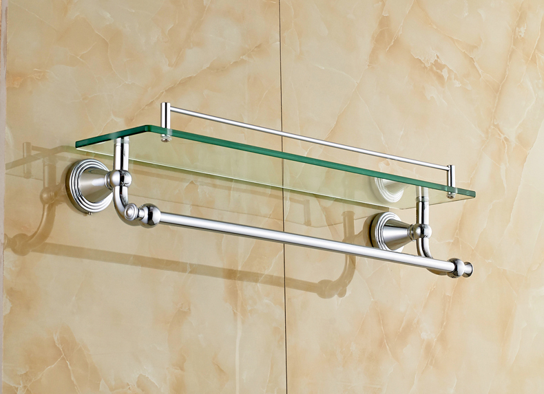 Bathroom Glass Shelves With Towel Bar Design Decoration