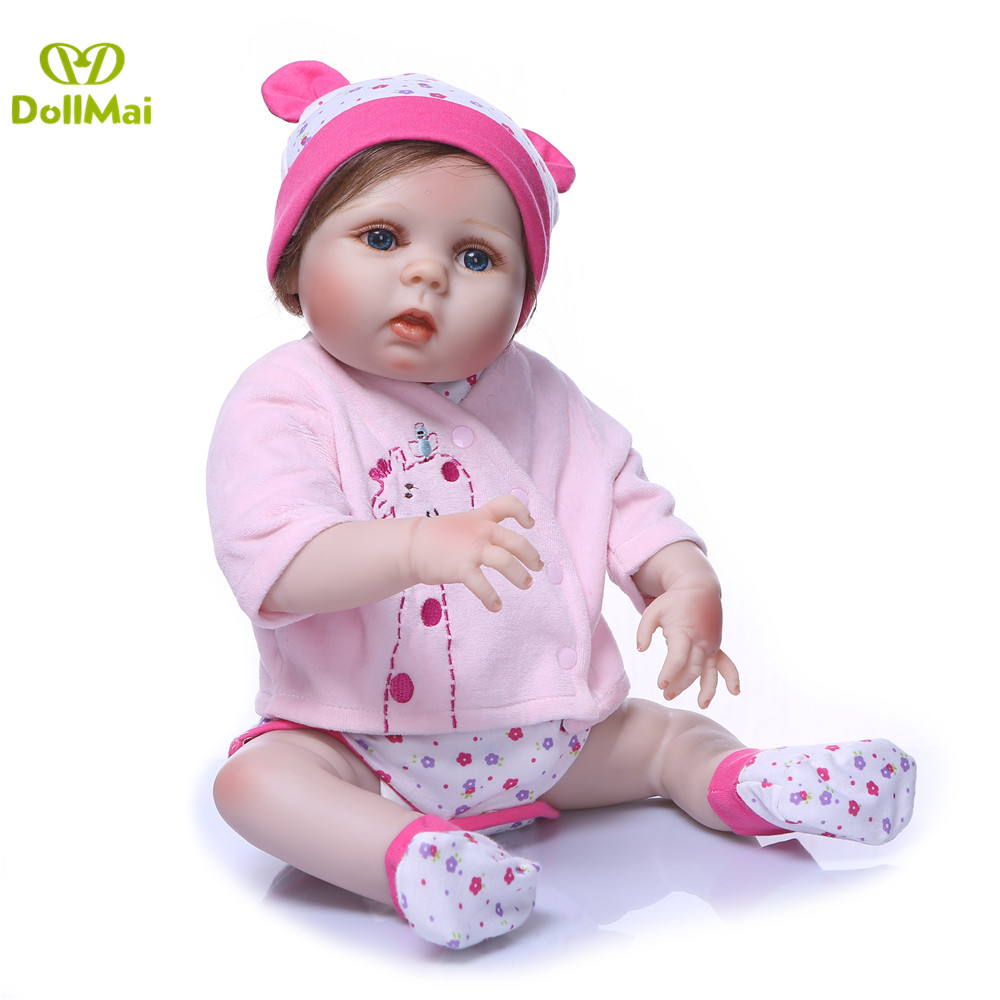 DollMai 23inch Lifelike reborn dolls babies Full silicone fashion rose pink menina Toys For Girls bebe gift reborn bonecas toy - 3