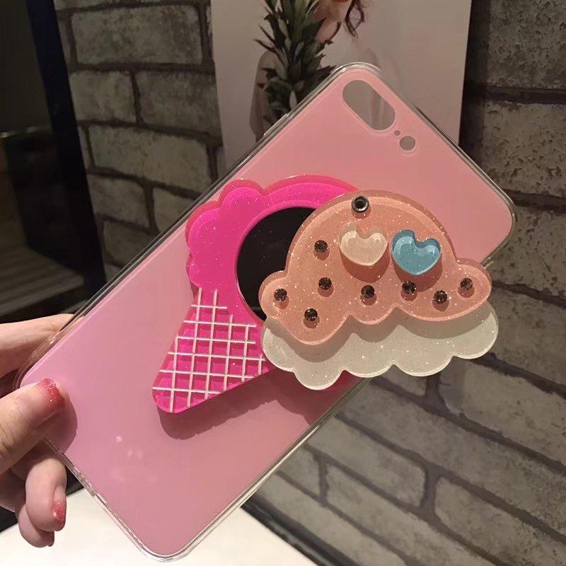 Luxury Feeling Makeup Mirror Case For iPhone 6 6s 7 8 Plus Queen Fruit Pineapple Ice cream Diamond Gem For iPhone X Case cover