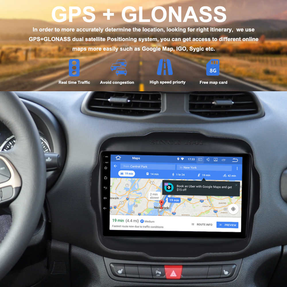 Car Radio GPS for Jeep Renegade Android 9.0 2015 2016 2017 2018