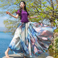 Free Shipping 2017 New Fashion Long Maxi Summer And Spring National Trend Print Chiffon Skirts For
