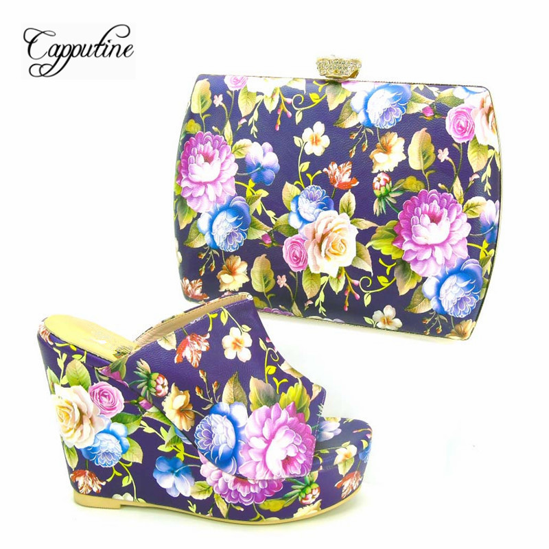 Capputine 2017 New Fashion PU Leather Female Pumps Shoes And Bag Set African Style High Heels Shoes And Bag Set For Party capputine new italian woman pu leather shoes and shopping big bag set african fashion high heels shoes and bag set for party
