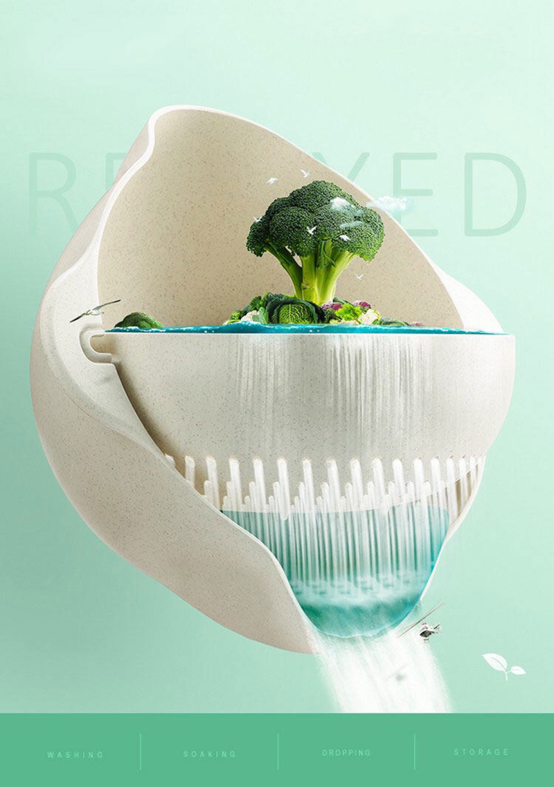 厨房洗篮 -  2PCS-微型 - 双屏 - 水果 - 蔬菜 - 塑料 - 洗手盆 - 漏水 - 排水 - 篮子 - 厨房 - 工具 -  KC1729(15)