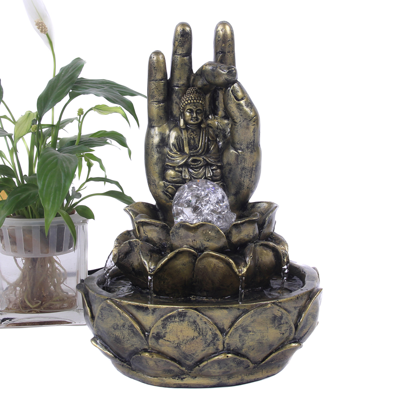 free shipping home decoration craft feng shui buddha hand fountain water ornaments with pumpchina
