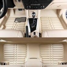 цена на car floor mats pu leather foot rugs carpets set pads cream for Citroen QUATRE Triomphe elysee Picasso C2 C4 C5 C4L free shipping