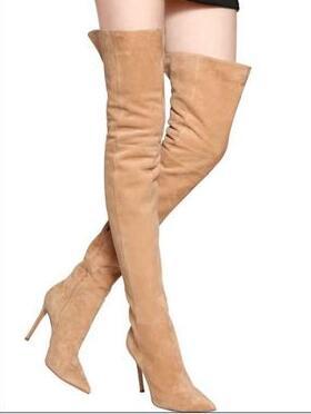 2018 Talons the Over Pictures Filles Femme Latérale Sude Chaussures as orange gris Hot Glissière Pointu Bottes Sexy genou Orteil New Stiletto Longues Haut Noir 5xwY4TA