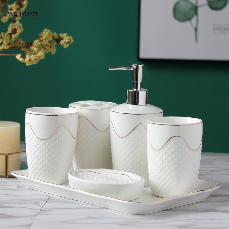 White Bathroom Sanitary Ware Five Paper Set Toilets Suit Shower Room Suite Gargle Cup Ceramics toothbrush holder banheiro gold