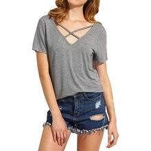 Women Summer Criss Cross Short Sleeve T Shirt Casual Short Sleeve V-neck Tops Tees Loose Solid Color T-shirt Plus Size XXXL