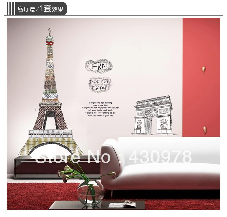 QZ442 Free Shipping 1Pcs Effiel Tower Romantic Paris France Triumphal Arch  Removable PVC Wall Stickers Decoration