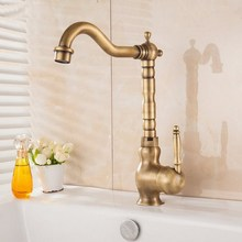 Antique Brass Basin Faucet Deck Mounted Bathroom Vanity Sink Faucet 360 Rotation Hot and Cold Water Mixer Tap KD1170 deck mounted rose gold water sink faucet 360 rotate marble body bathroom basin faucet hot and cold water mixer