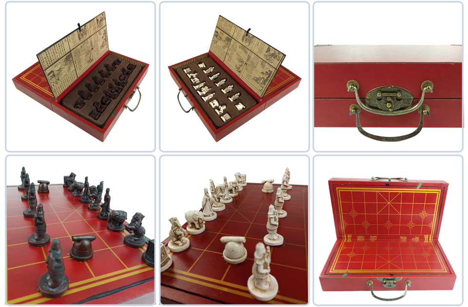 2 Yernea High-grade Wooden Chinese Chess Game Set Folding Chessboard Chinese Traditions Chess Resin Chess Pieces New Board Game (9)