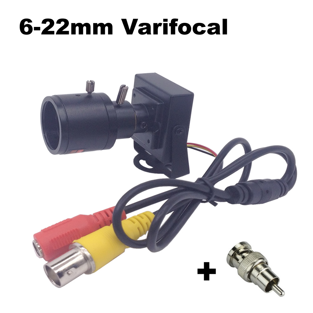 6-22mm Lens Varifocal Mini Camera 800tvl Adjustable Lens+RCA Adapter Security Surveillance CCTV Camera Car Overtaking Camera