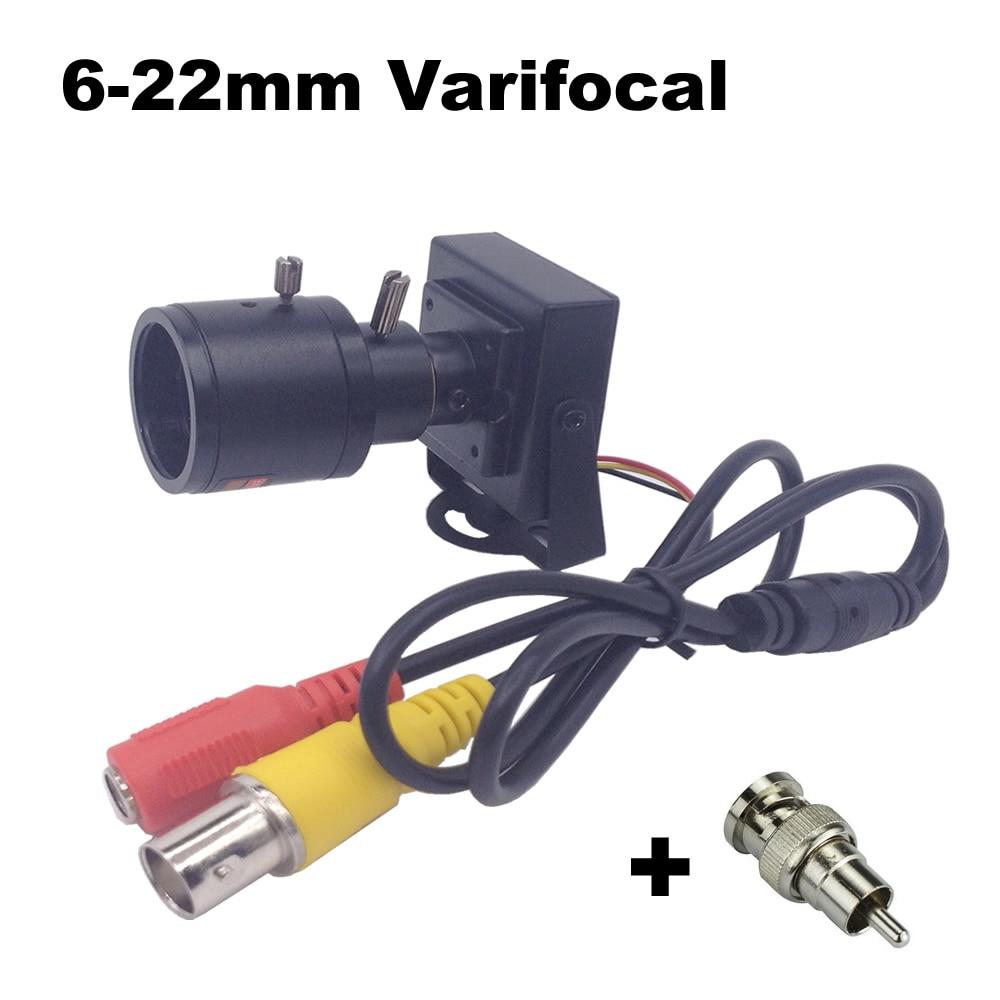 6-22mm objektiv Vario Mini Kamera 800tvl Einstellbare Objektiv + RCA Adapter Sicherheit Überwachung CCTV Kamera Auto Überholen kamera