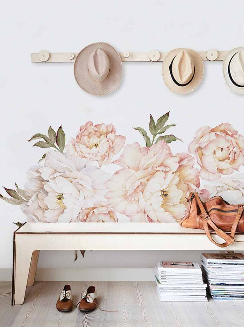 Peony Flowers Wall Sticker Vintage Peach Watercolor Peony Wall Stickers Peel and Stick Removable Stickers Living Room Decoration