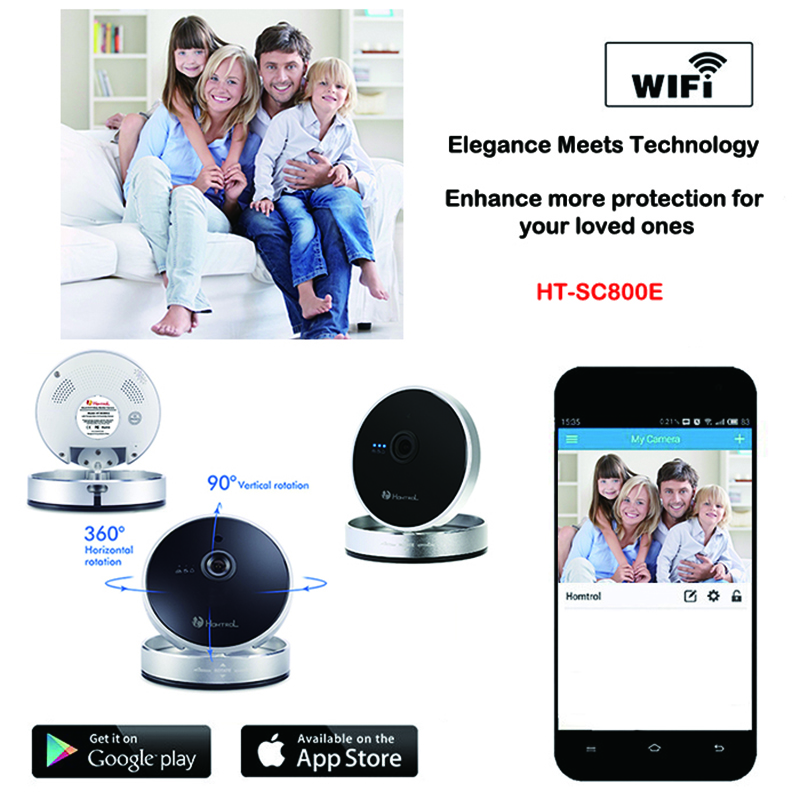 Free Shipping CE&RoHS 720P Megapixel Homtrol IP Cam Wireless Camera Security System for Smart Home,Brand New Top Baby Monitor