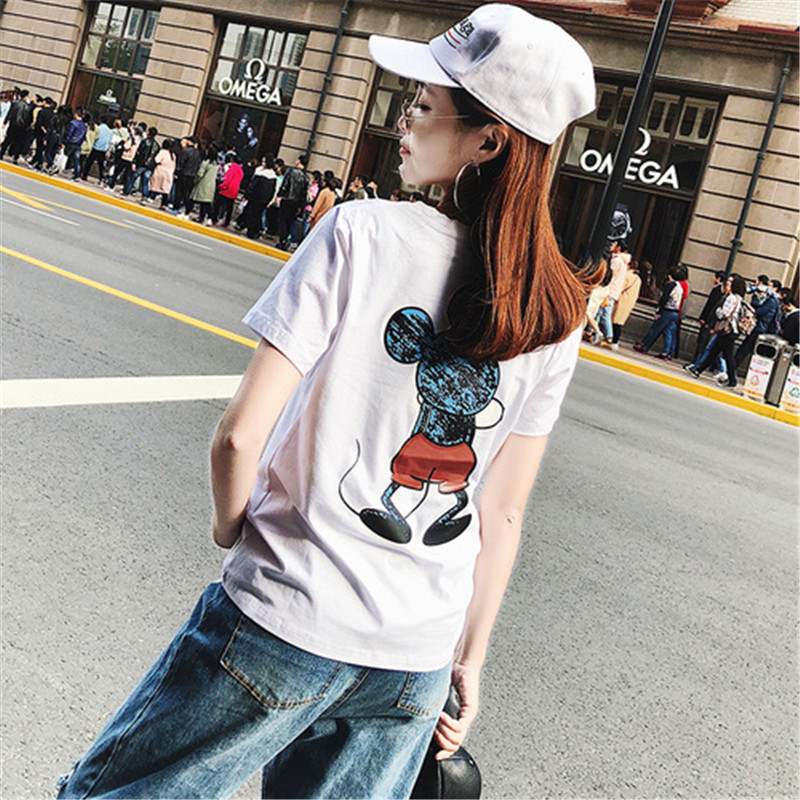 2019 Summer New Women's T-shirt Fashion Casual Mickey Mouse Printing Round Neck Short Sleeve Loose Female Tshirts 2